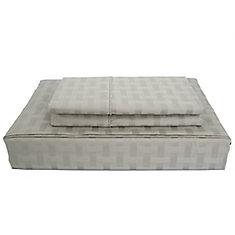 Bamboo Cotton -Ensemble de draps, gris, grand lit