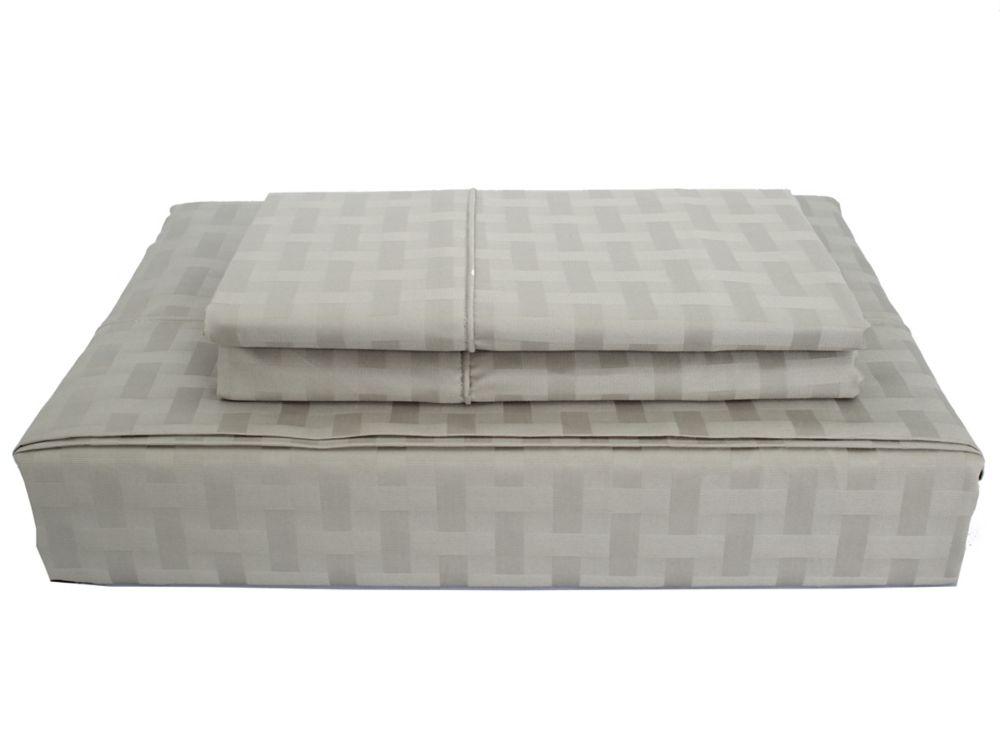 Bamboo cotton - Ensemble de draps, gris, très grand lit