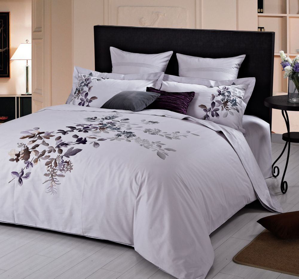 Indigo Orchid Embroidered Duvet Cover Set, King