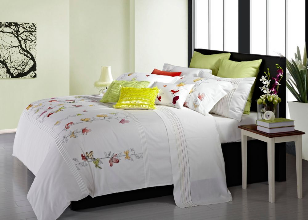 Spring Meadow Embroidered Duvet Cover Set, King