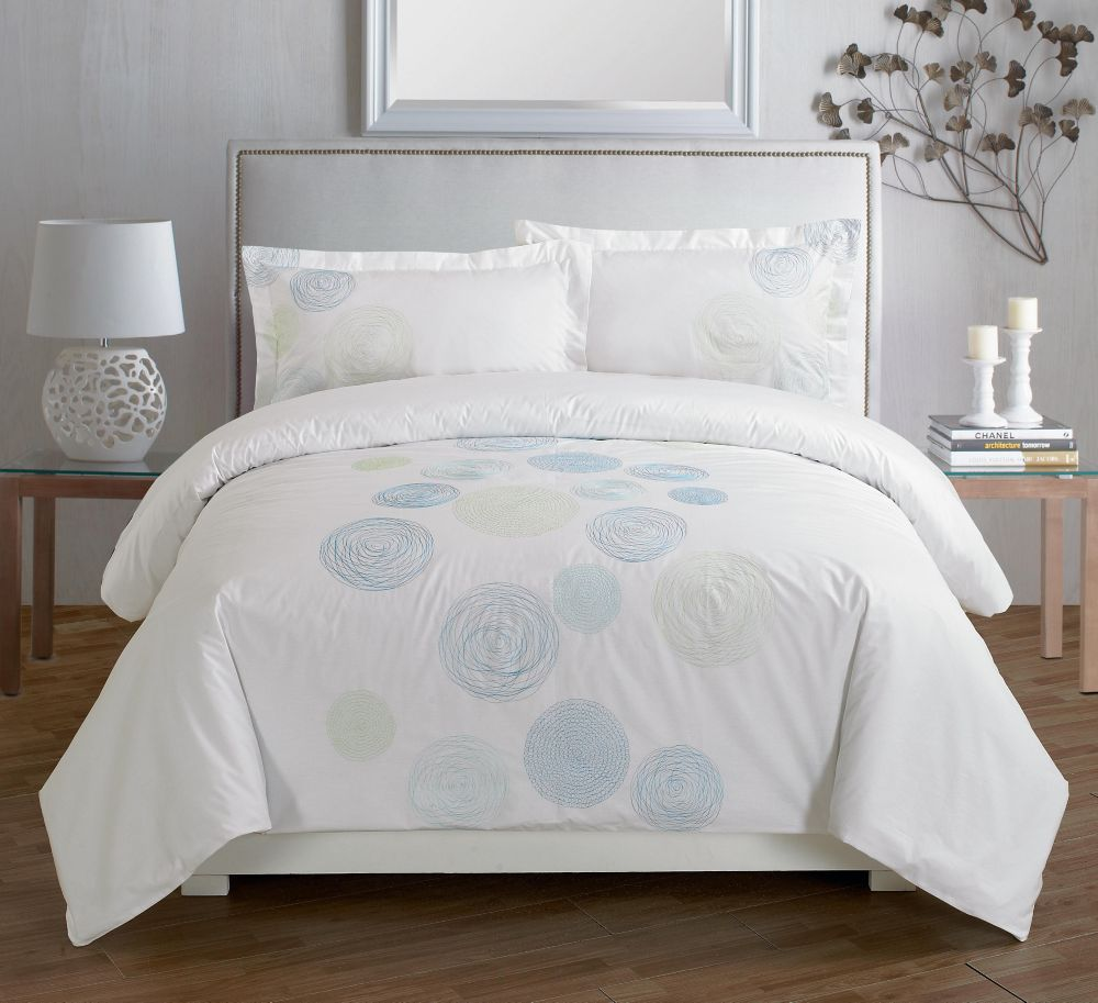 Spiral Blue Embroidered Duvet Cover Set, King
