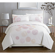 Spiral Red Embroidered Duvet Cover Set, Queen