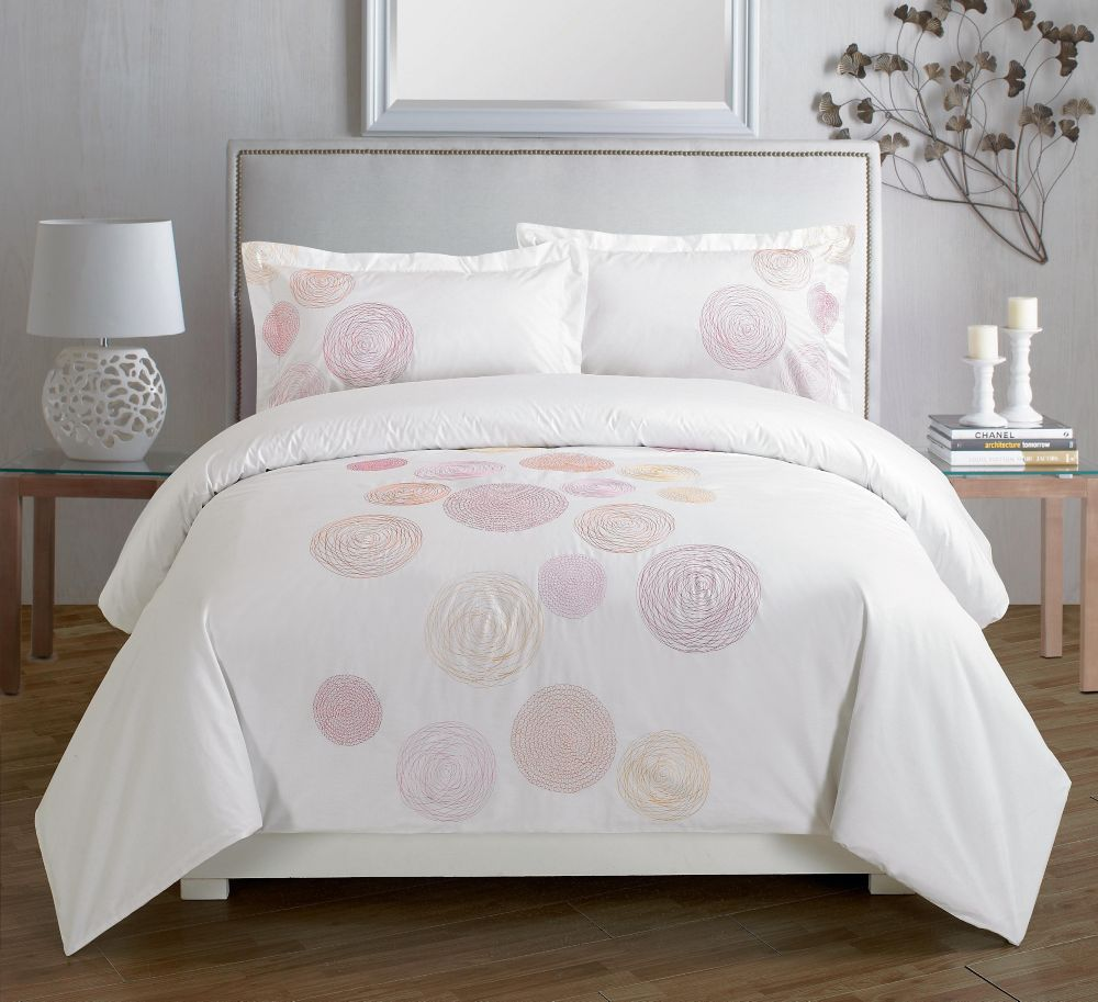 Maholi Spiral Red Embroidered Duvet Cover Set, Queen