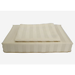 Ambassador 300TC Damask Stripe Duvet Cover Set, Sand, Twin