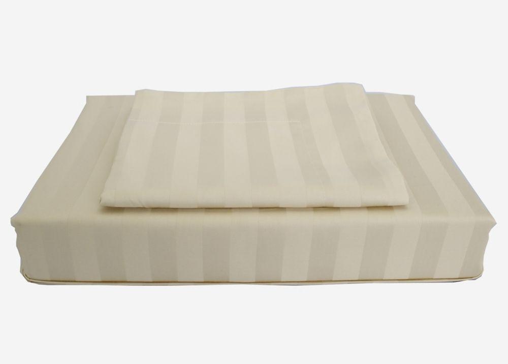300 fils au pouce, Damask Stripe - Ensemble de housse de couette, sable, très grand lit
