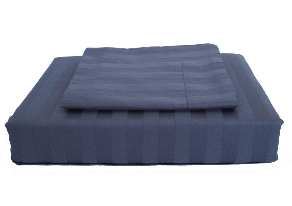 300 fils au pouce, Damask Stripe - Ensemble de housse de couette, bleu marin, grand lit