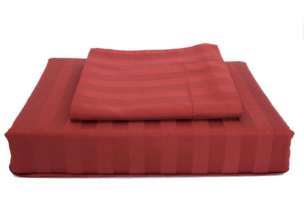 300TC Damask Stripe Duvet Cover Set, Ruby, Double