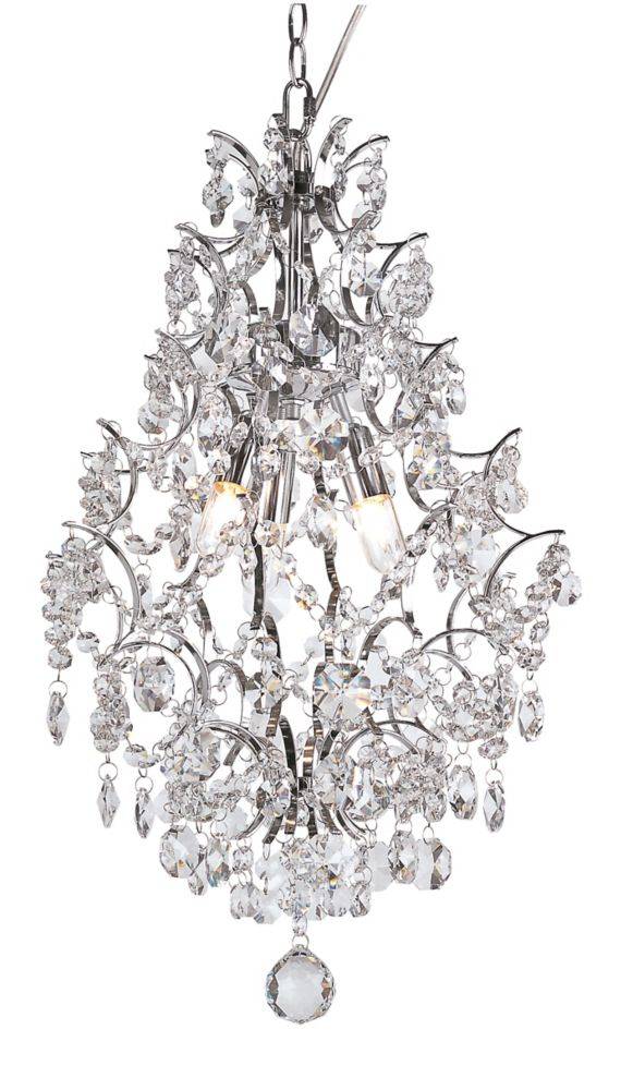 Hampton Bay 3 Light Crystal Teardrop Chandelier