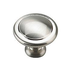 Traditional Metal Knob - Brushed Nickel - 32 mm Dia.