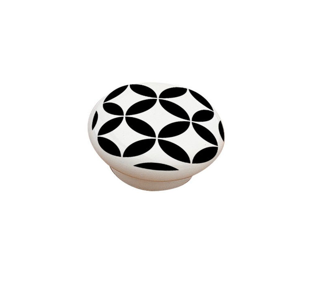 Richelieu Contemporary Ceramic Knob - Black and White - 52 mm Dia.