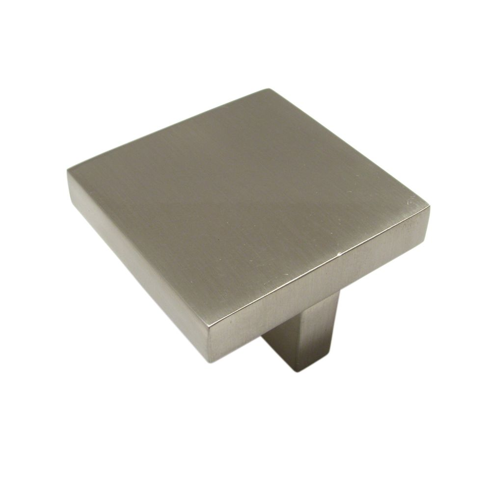 Bouton contemporain en métal - Nickel brossé - Dia. 32 mm