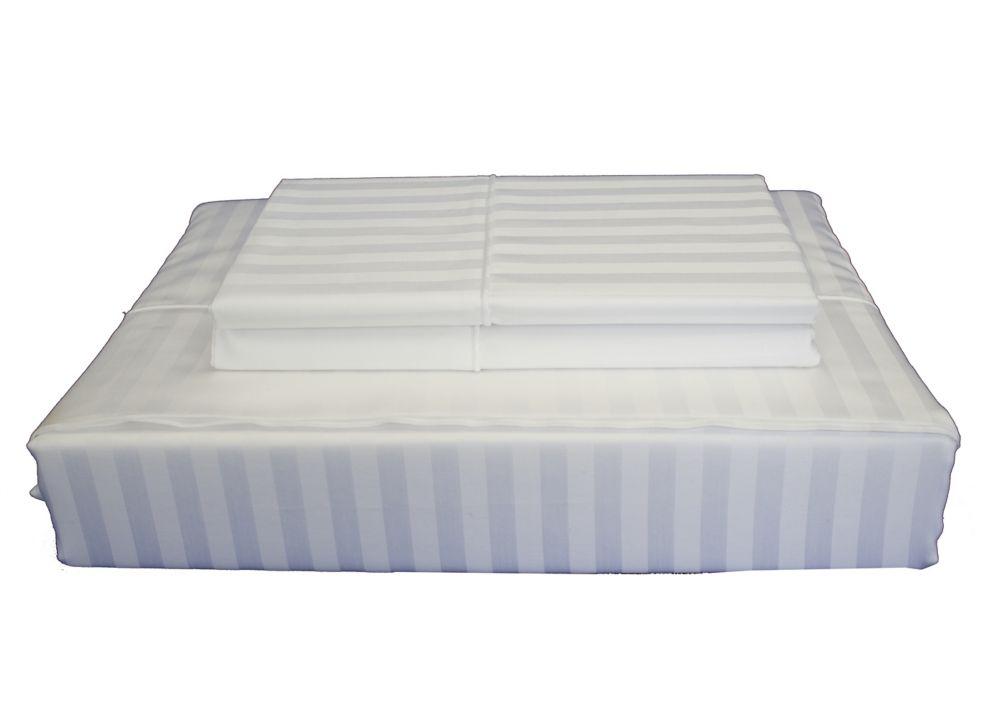 400TC Damask Stripe Sheet Set, White, Queen