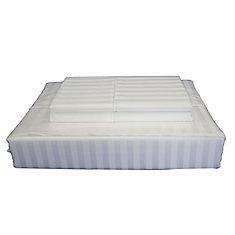 400 FP Damask Stripe -  Ensemble de draps, Blanc, très grand lit