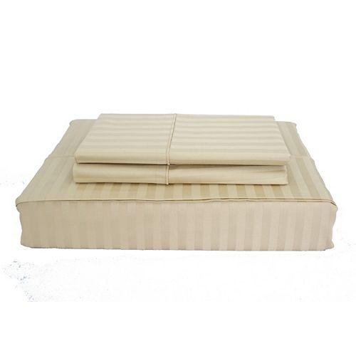 Maholi 400TC Damask Stripe Sheet Set, Sand, Double
