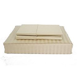 Maholi 400TC Damask Stripe Sheet Set, Sand, Queen