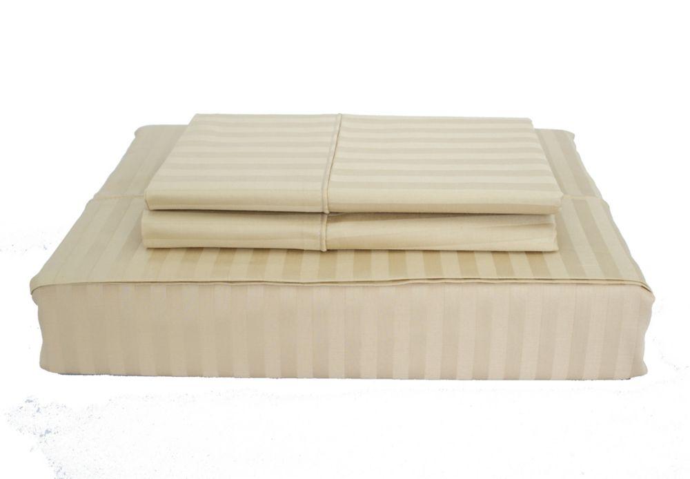 400TC Damask Stripe Sheet Set, Sand, Queen