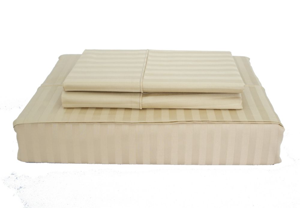 400TC Damask Stripe Sheet Set, Sand, King