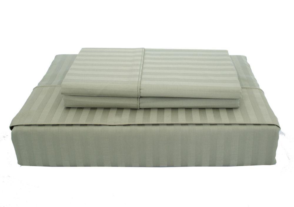 400TC Damask Stripe Sheet Set, Celery, Queen