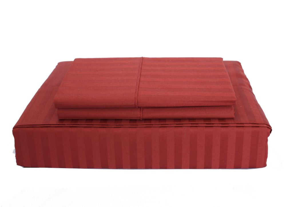 400TC Damask Stripe Sheet Set, Burgundy, Queen