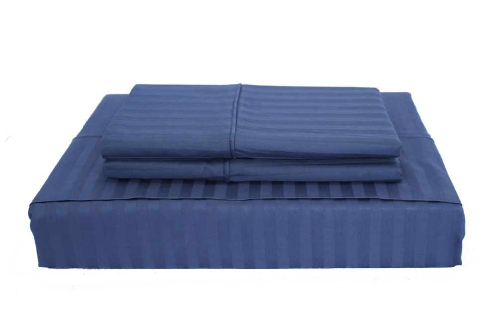 400TC Damask Stripe Sheet Set, Navy, Double