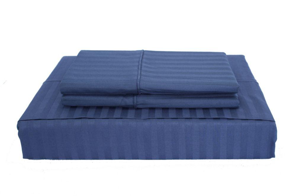 400 FP Damask Stripe -  Ensemble de draps, Bleu marin, très grand lit