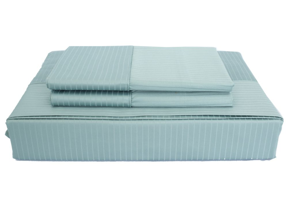 600TC Tuxedo Stripe Sheet Set, Blue, Queen