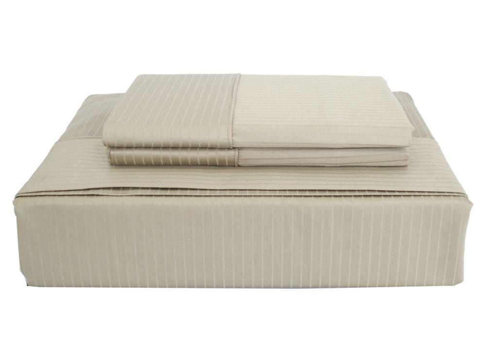 600 FP Tuxedo Stripe - Ensemble de draps, Sauge, très grand lit.