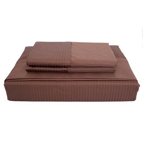 Maholi 600TC Tuxedo Stripe Sheet Set, Cocoa, Double