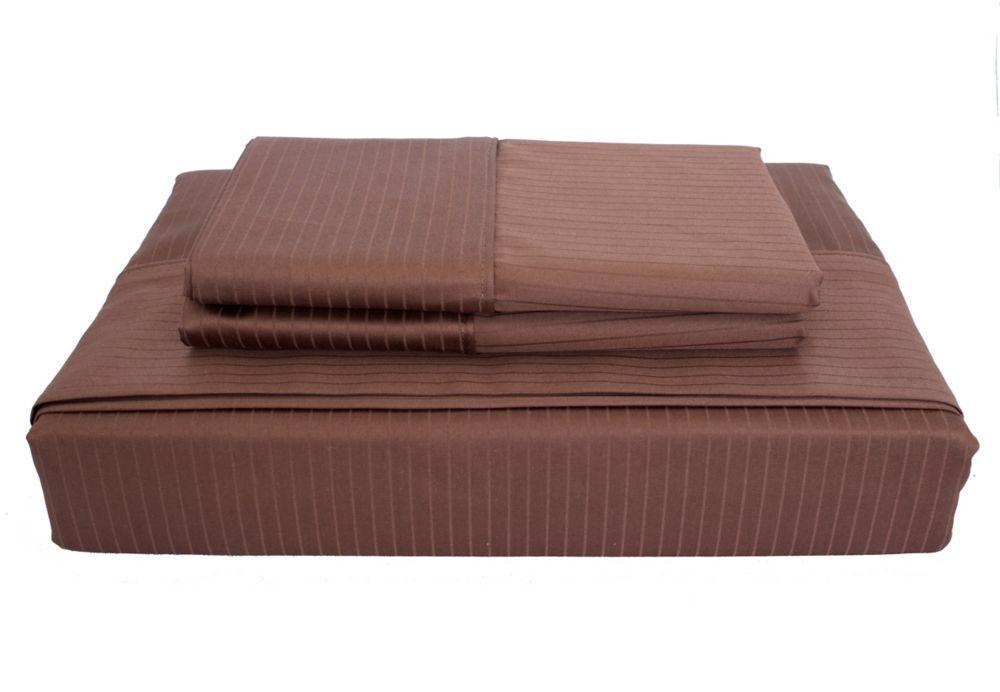 600 FP Tuxedo Stripe - Ensemble de draps, Cacao, très grand lit.