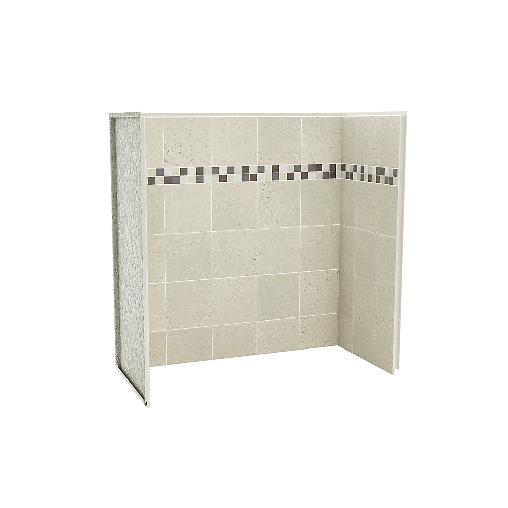 maax utile 30inch x 60inch shower wall kit in stone