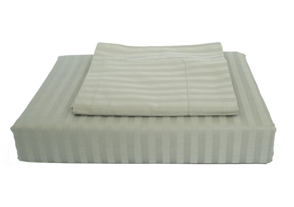 400TC Damask Stripe Duvet Cover Set, Celery, King