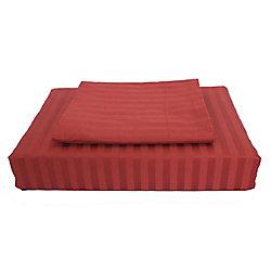 Maholi 400TC Damask Stripe Duvet Cover Set, Burgundy, Double