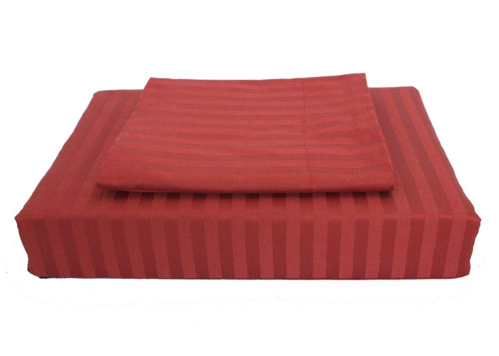 400TC Damask Stripe Duvet Cover Set, Burgundy, Double