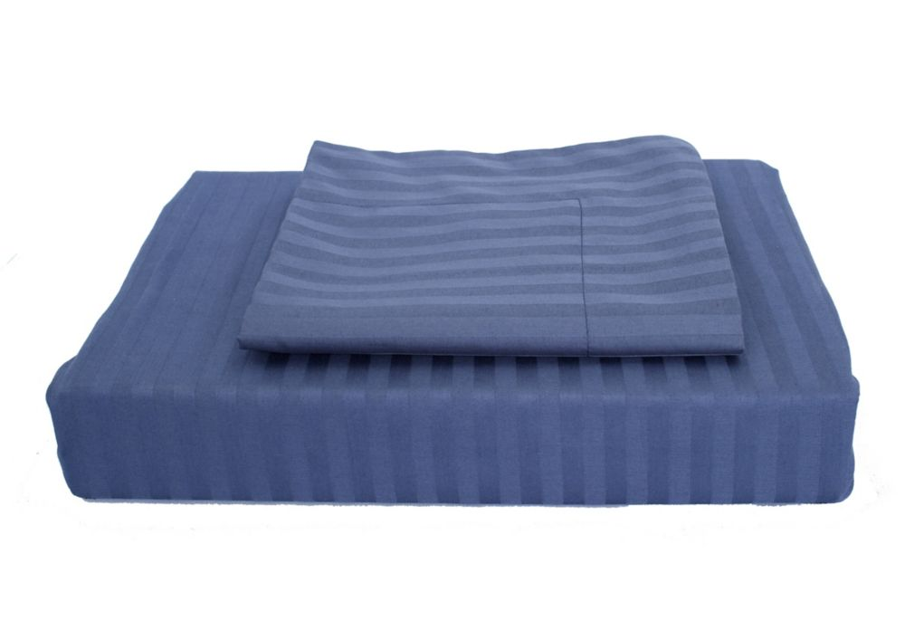 400 FP Damask Stripe -  Ensemble de housse de couette, Bleu marin, grand lit