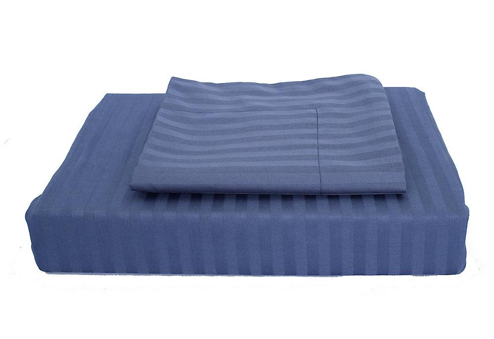 400 FP Damask Stripe -  Ensemble de housse de couette, Bleu marin, très grand lit