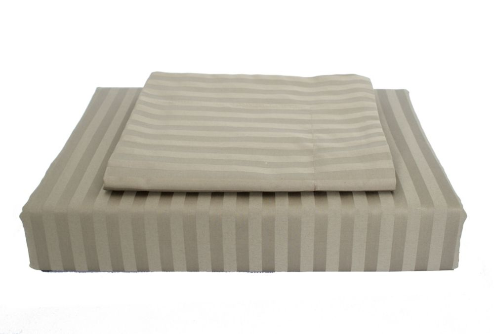 400 FP Damask Stripe -  Ensemble de housse de couette, Olive, grand lit
