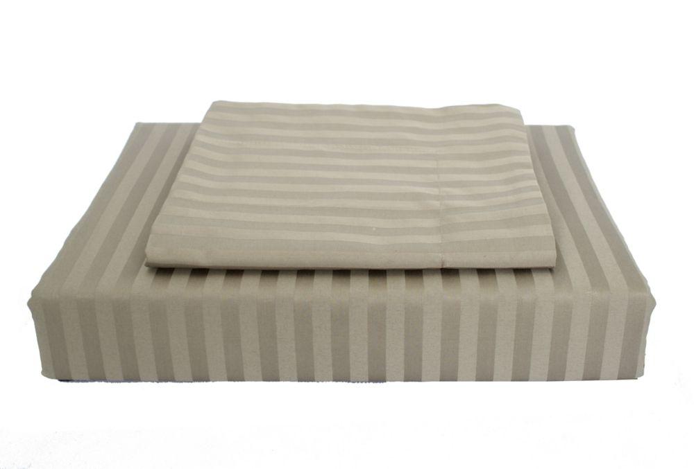 400 FP Damask Stripe -  Ensemble de housse de couette, Olive, très grand lit