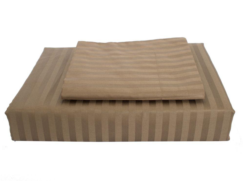 400TC Damask Stripe Duvet Cover Set, Mink, King