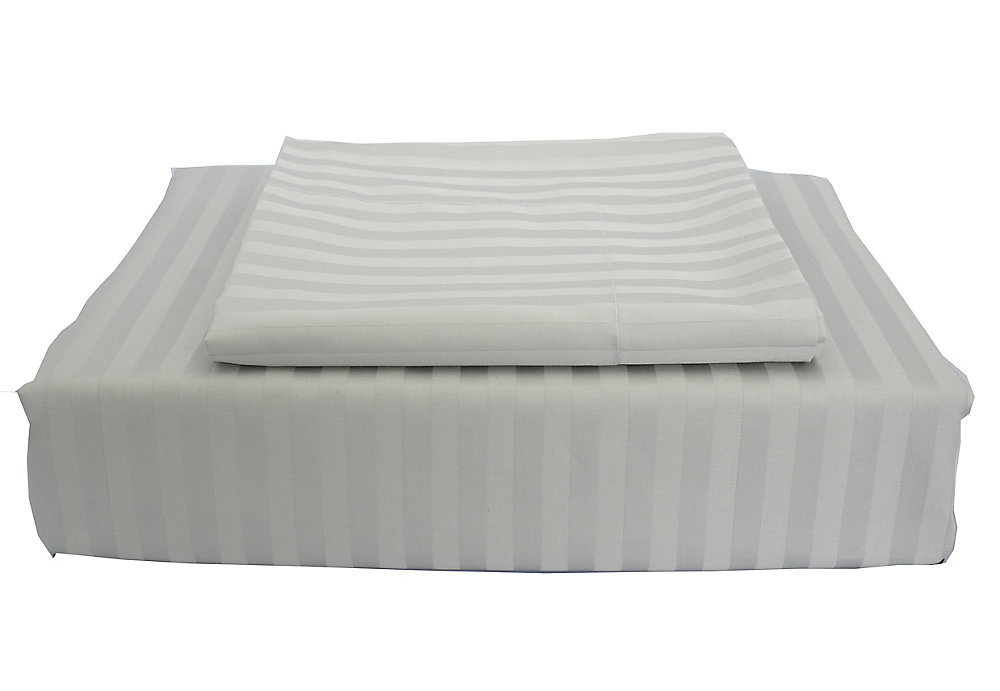 400 FP Damask Stripe -  Ensemble de housse de couette, Gris, lit 2 places