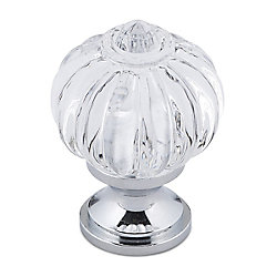 Richelieu Eclectic Acrylic and Metal Knob 1 3/32 in (28 mm) Dia - Clear Chrome - Montreuil Collection