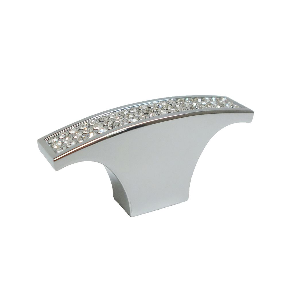 Contemporary Metal and Crystal Knob  Crystal Chrome - Vence Collection