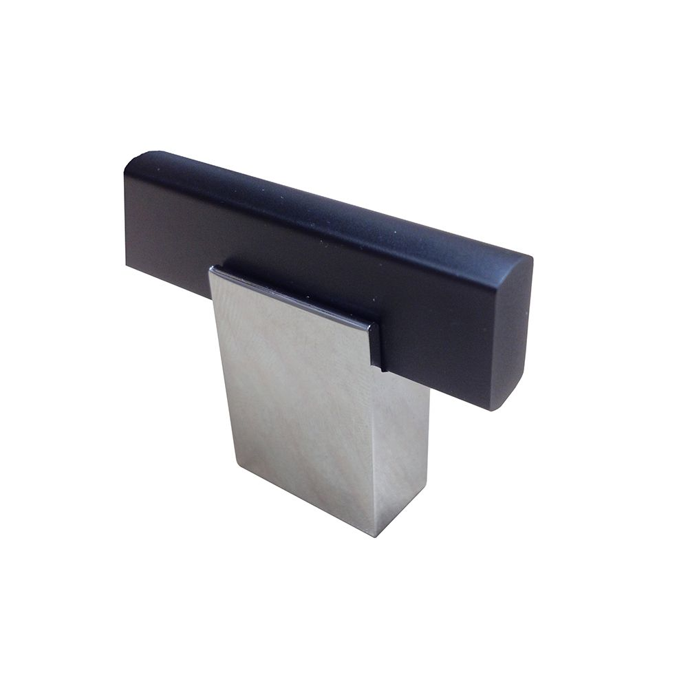 Contemporary Metal Knob - Chrome, Matte Black - 40 Mm Dia.