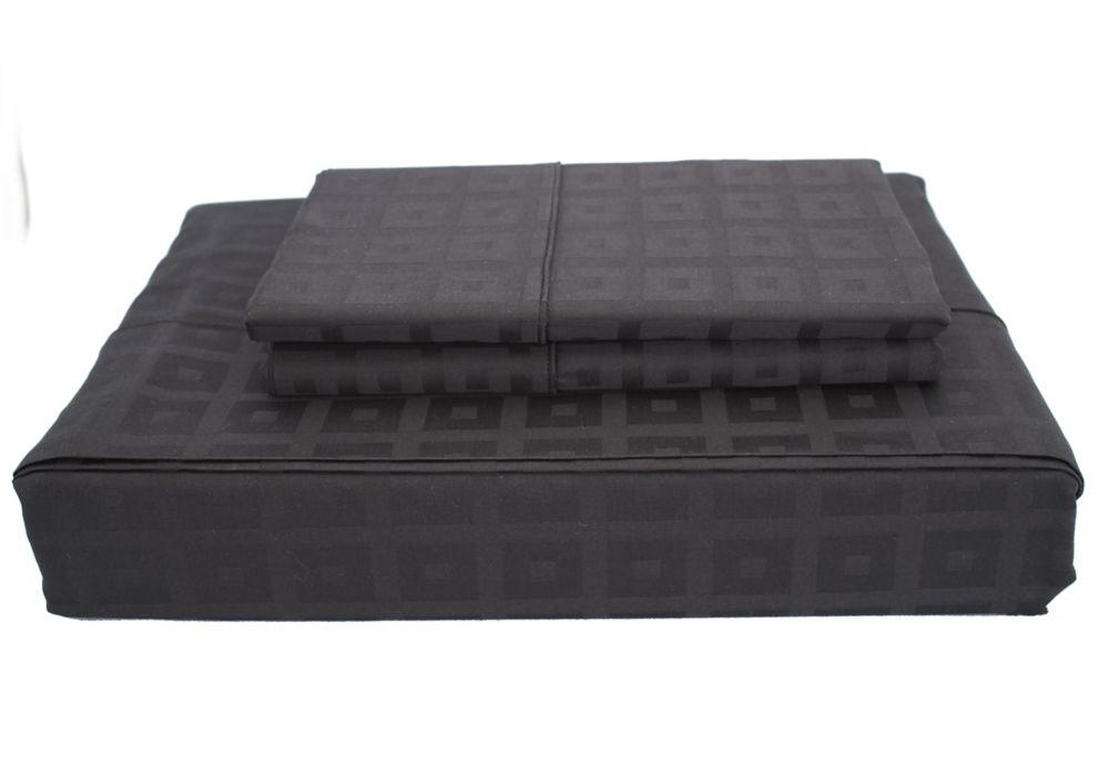 Bliss - Ensemble de draps, noir, très grand lit