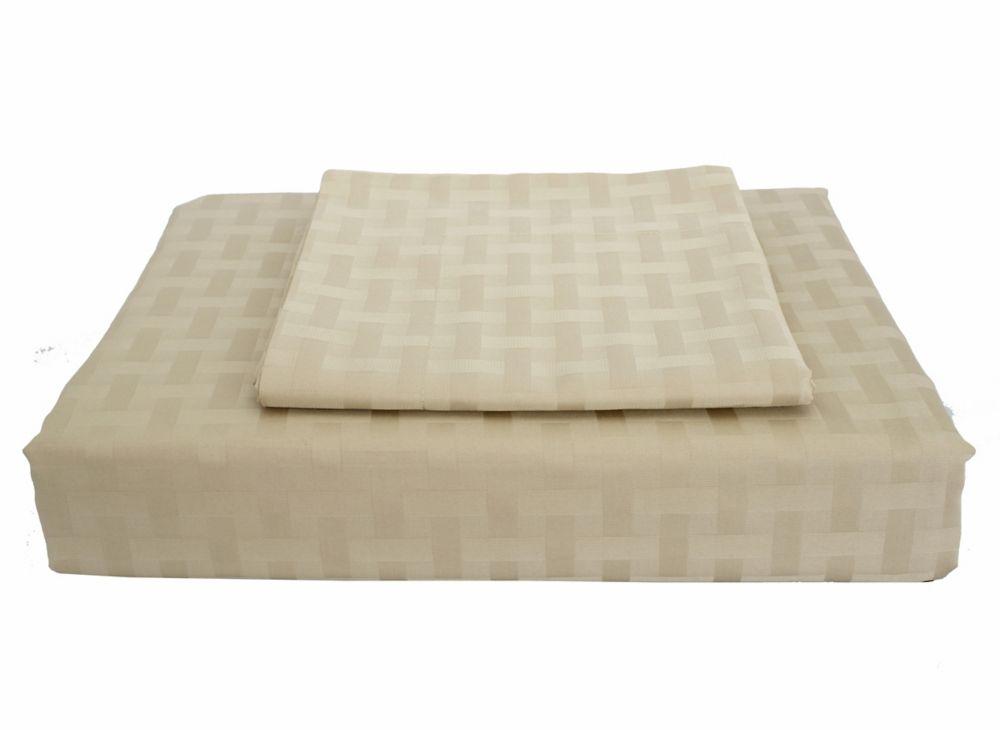 Bamboo Cotton -Ensemble de housse de couette, sable, grand lit