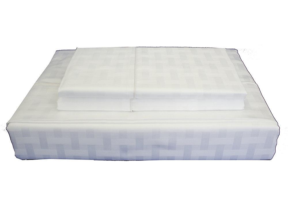 Bamboo Cotton -Ensemble de draps, blanc, grand lit