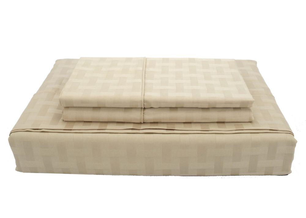 Bamboo Cotton - Ensemble de draps, sable, lit 2 places