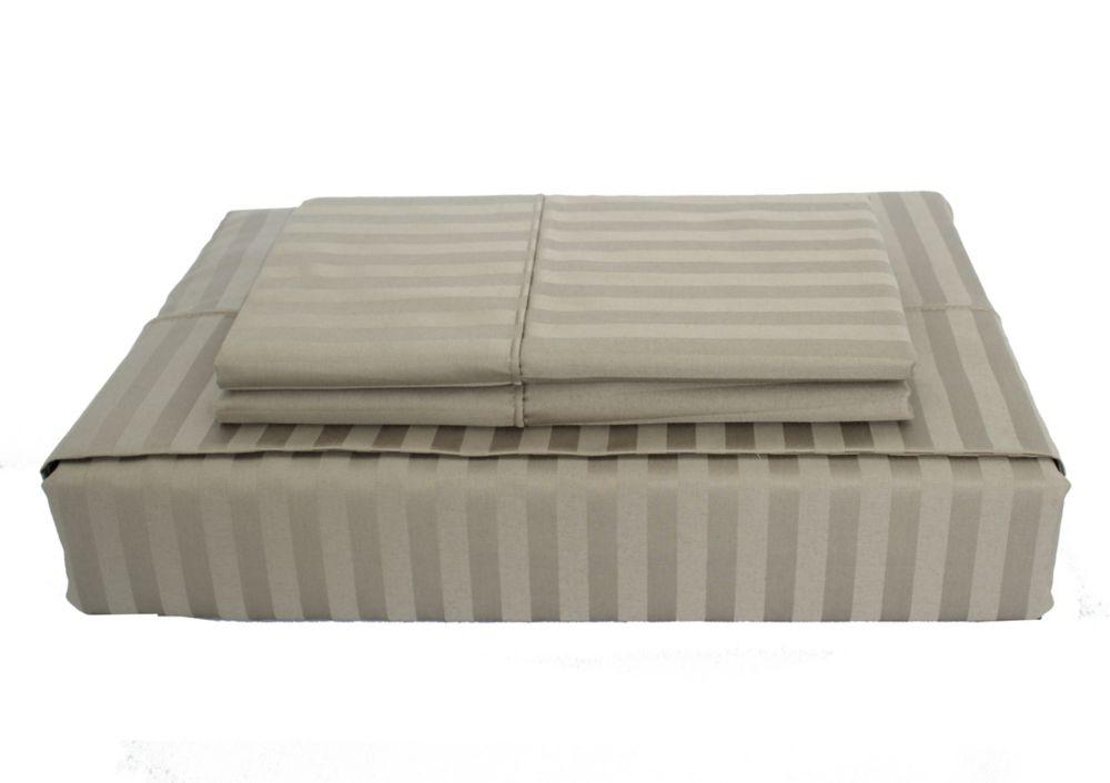 400 FP Damask Stripe -  Ensemble de draps, Olive, très grand lit