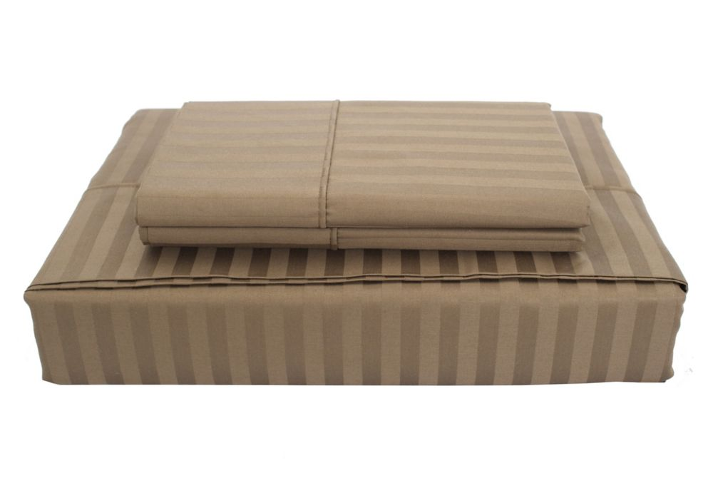 400TC Damask Stripe Sheet Set, Mink, King