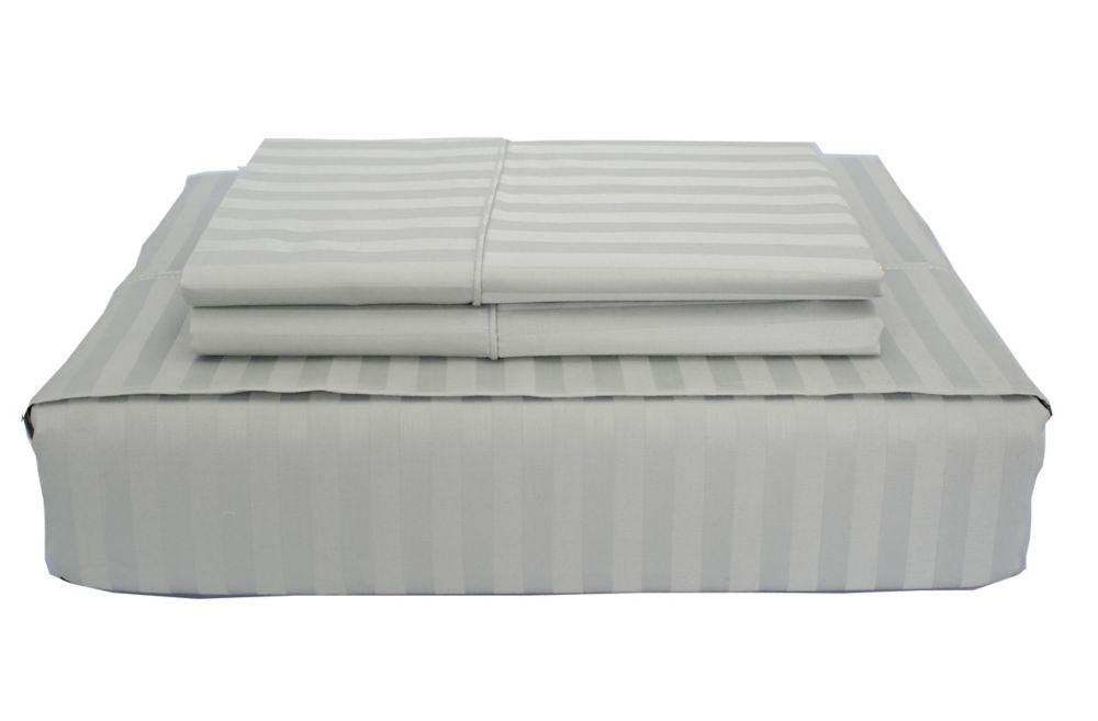 400TC Damask Stripe Sheet Set, Grey, Queen