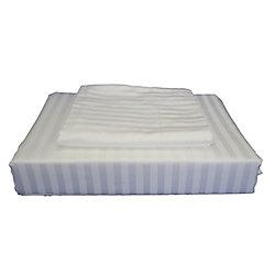 Maholi 400TC Damask Stripe Duvet Cover Set, White, Queen